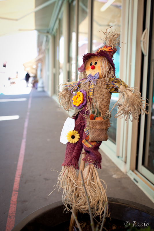 Flower bombing scarecrow
