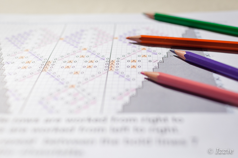 Crayon couleur + chart tricot
